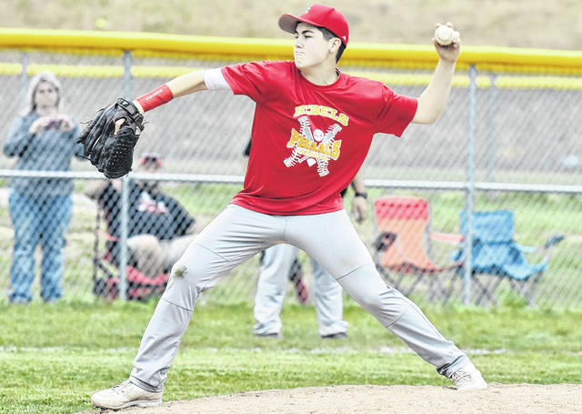 SGHS senior Curtis Haner delivers a pitch during a contest versus River Valley on May 4 in Bidwell, Ohio.
