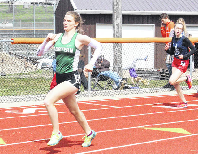 Eastern senior Jessica Cook competes in the 200m dash at the Rocky Brands Invitational on March 31 in Nelsonville, Ohio.