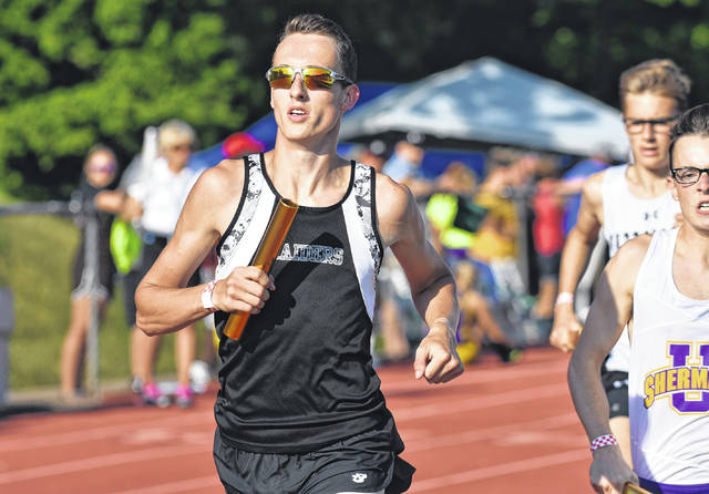 River Valley senior Nathaniel Abbott hits full stride during the Division II Region 7 4x800m relay finals held Thursday, May 24, on the campus of Muskingum University in New Concord, Ohio.