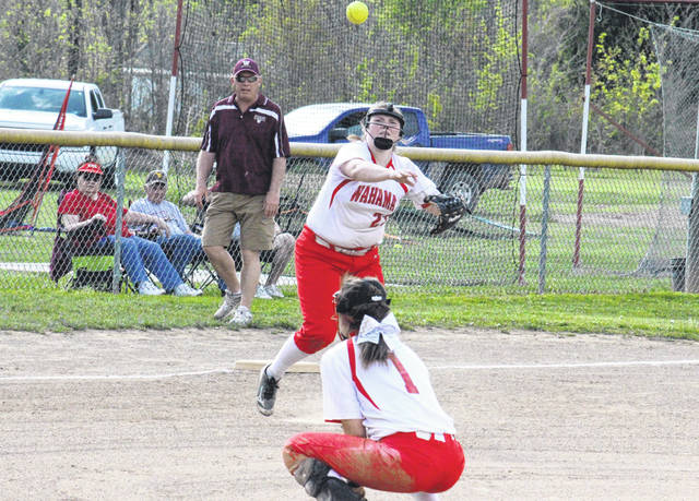 Wahama junior Maddy VanMatre throws to first base, during the Lady Falcons' 8-0 victory on Thursday in Hartford, W.Va.