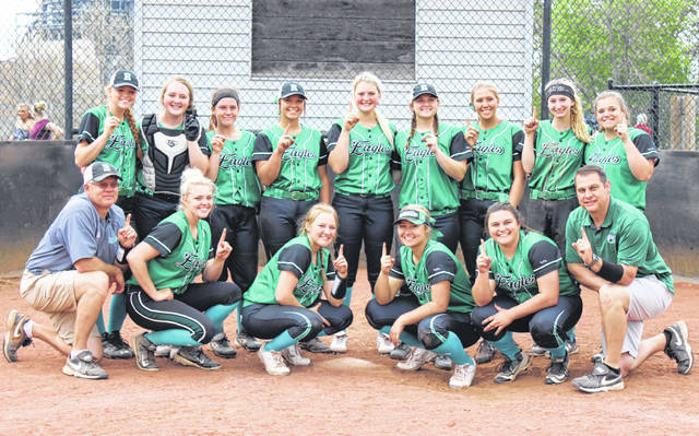 Members of the 2018 Eastern softball team pose for a picture after sealing the outright TVC Hocking championship, with a 19-3 victory over Southern on Friday in Racine, Ohio.