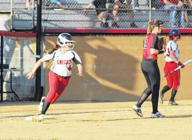 Point Pleasant sophomore Shala Swain rounds first and heads to second for a leadoff double during the sixth inning of Monday night's Class AA Region IV, Section 1 softball game against Wayne in Point Pleasant, W.Va.