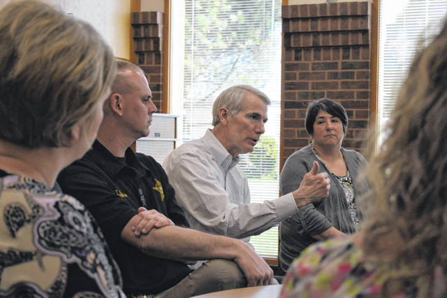 U.S. Senator Rob Portman (R-Cincinnati) discusses concerns with southeastern Ohio residents with regard to human trafficking.