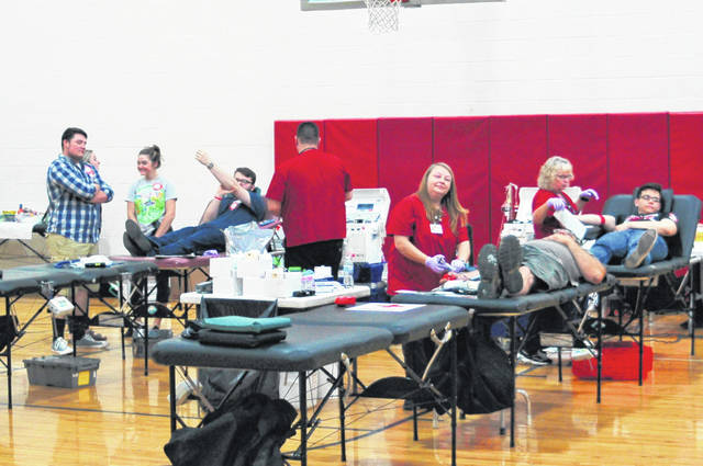 The local community gave back to by giving blood through the Red Cross. South Gallia Leo students will benefit through community service and earning scholarship money through the event.