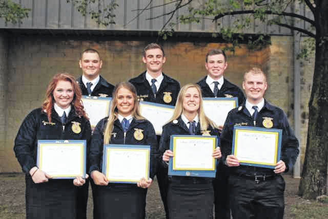 Front row from left are Gallia Academy FFA students receiving their state degrees: Jamie Steger, Katie Carpenter, Abby Cremeans, and Derek Henry. Back row from left: Ethan Mays, Cody Brumfield, and Clay Montgomery.
