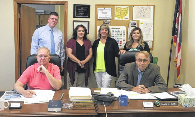 From left to right are Gallia Commissioner Harold Montgomery, Gallia Prosecutor Jason Holdren, Gallia Counselor Amy Sisson, Gallia Victim's Advocate Regina Brown, Gallia Economic Development Director Melissa Clark and Gallia Commissioner David Smith.