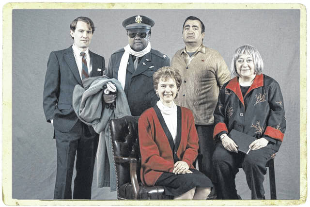 Five scholars will be portraying these characters at the upcoming Ohio Chatauqua. From left: Jeremy Meier as Robert Kennedy, Jim Armstead as Benjamin Davis Jr., Susan Frontczak as Erma Bombeck, Fred Blanco as Cesar Chavez, and Sally Drucker as Betty Friedan.