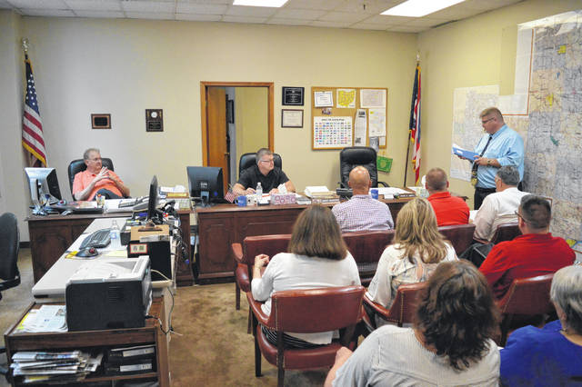 Gallia Children's Services Director Russ Moore addresses Gallia Commissioners Thursday morning with public school officials to discuss the hopes of hiring a full-time case worker dedicated to meeting the needs of Gallia public school districts.