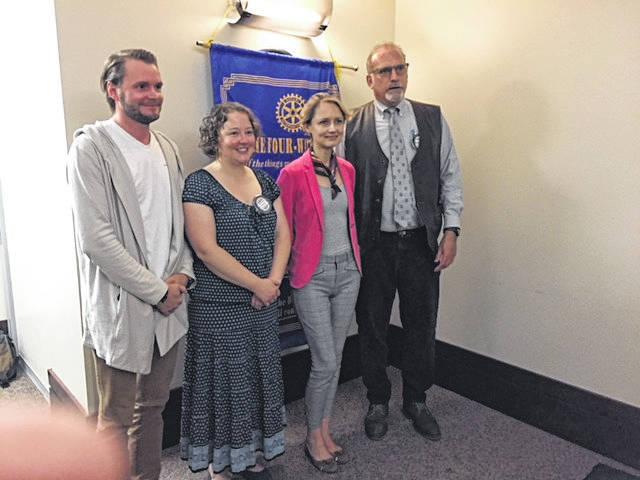 Guest speaker at the Gallipolis Rotary Club on June 5 was Fulbright Scholar Dr. Anastasiya Luzgina, Director at Belarus Economic Research and Outreach Center. Pictured with Dr. Luzgina is her husband Mikalai Autushka, Rotary President Jenny Evans and Richard Sax, URG.
