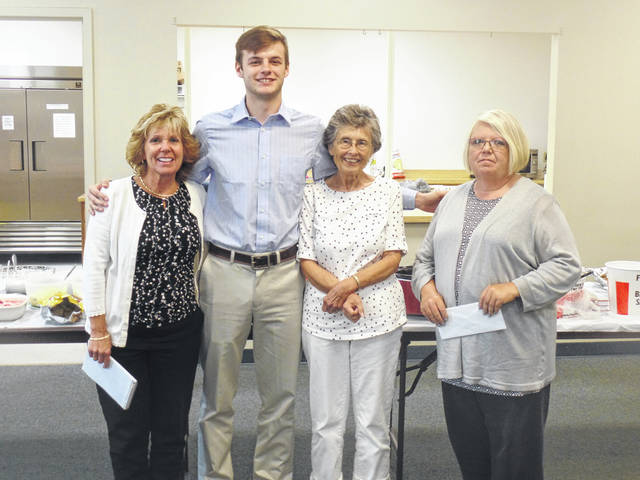 Pictured is scholarship recipient Jarrett McCarley with the Gallia County Retired Teachers Scholarship Committee. Left to right: Letty Willis, Jarrett McCarley, Nancy Hood and Beth James.