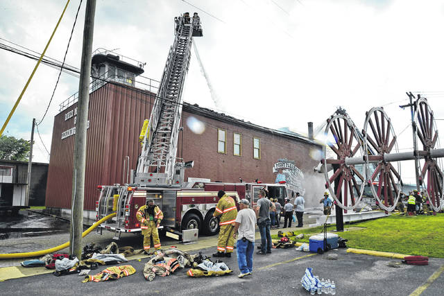 Firefighters from numerous departments were on the scene of a fire at the Point Pleasant River Museum on Sunday afternoon and evening.