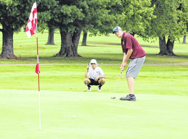 Meigs junior Dawson Justice watches his putt attempt on the 16th hole during an Aug. 20 TVC Ohio golf match held at Franklin Valley Golf Course in Jackson, Ohio.