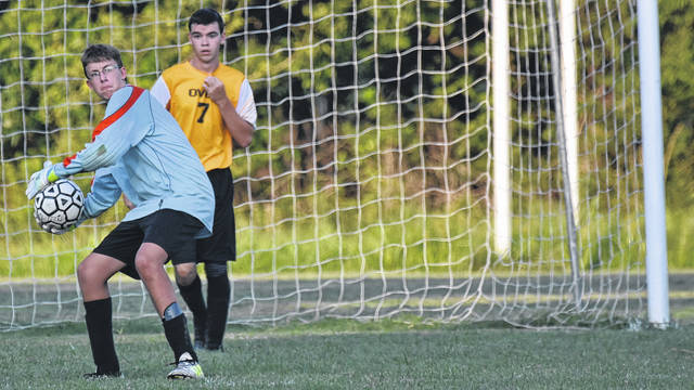 OVCS goalkeeper Conner Walter makes throw during the Defenders 8-0 setback against PPHS on Monday night in Gallipolis, Ohio.