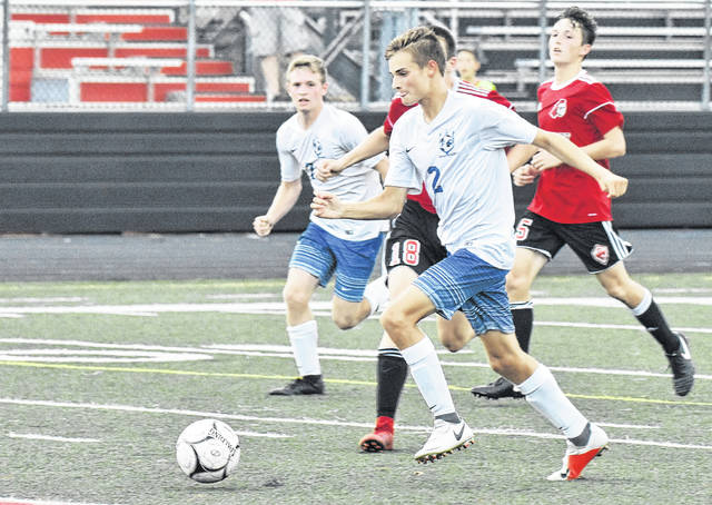 Gallia Academy's Dalton Vanco (2) prepares to score during the Blue Devil's 1-0 victory over the Black Knights on Wednesday night in Mason County.