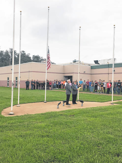 David Sigman, of the New Haven American Legion, and Ray Varian, commander of the Mason VFW Post 9926 attended the 9/11 ceremony held at MCCC.