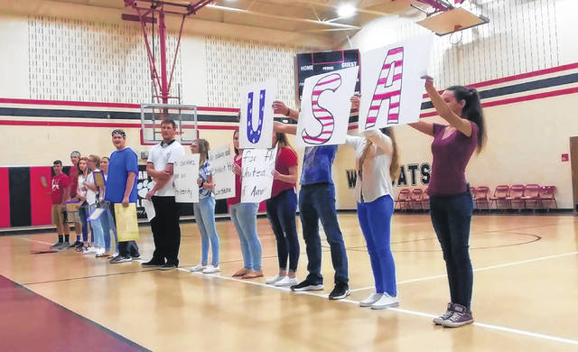 Dafney Davis' class from South Gallia presents a Constitution Day rap to Hannan Trace Elementary students last week.