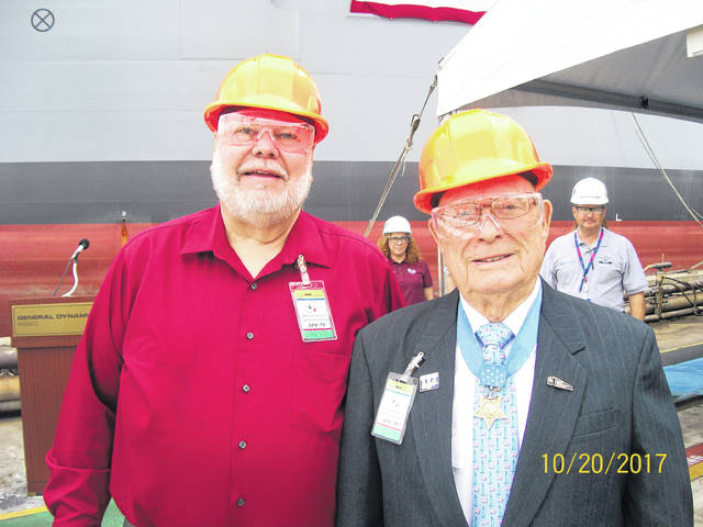 Gallipolis resident Ron Wroblewski and Medal of Honor recipient Woody Williams toured USNS Hershel Woody Williams.