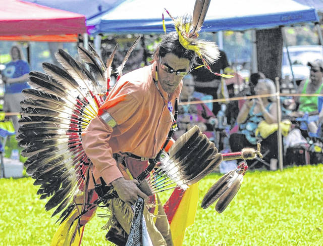 One dancer displays his skills at the Harvest Moon Pow Wow in Gallipolis City Park over Labor Day weekend. The Native American Education Association is a local group that started a little over a decade ago to assist the Harvest Moon Pow Wow in seeking sponsors. The event is sponsored by several groups including the Ohio Arts Council and local businesses. The group represents multiple tribes including Arapaho, Shawnee, Shoshone, Blackfoot, Cherokee and others in a celebration of Native American culture.
