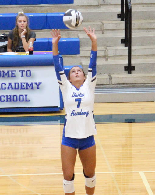 Gallia Academy junior Peri Martin (7) sets the ball, during the Blue Angels' win over Chesapeake on Tuesday in Centenary, Ohio. (Alex Hawley|OVP Sports)