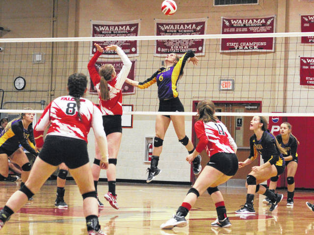 Southern junior Phoenix Cleland (6) leaps for a spike attempt during Tuesday night's TVC Hocking volleyball match against Wahama at Gary Clark Court in Mason, W.Va.