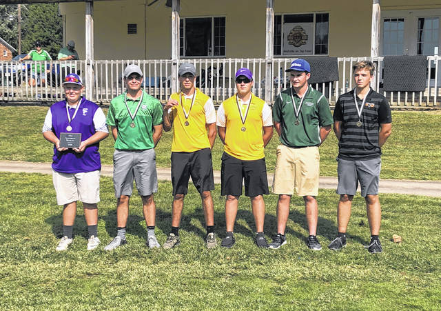 Earning first team honors at the second annual TVC Hocking golf invitational, standing left to right, are Miller's Hunter Dutiel, Waterford's Wes Jenkins, Southern's Jarrett Hupp and Jensen Anderson, Eastern's Ryan Harbour, and Belpre's Eric Dotson.