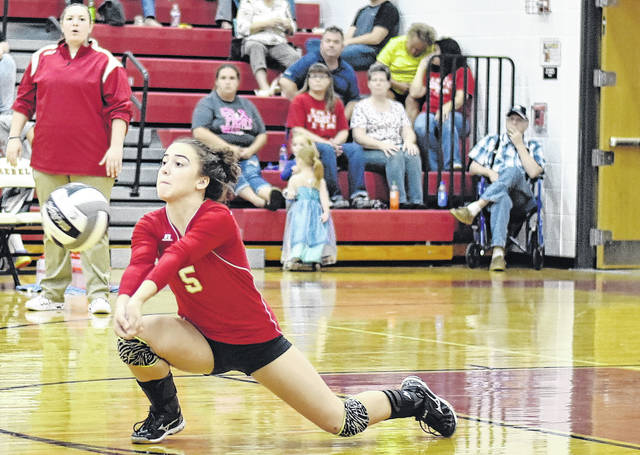 South Gallia's Alyssa Cremeans attempts a dig during the Lady Rebels setback against Miller on Tuesday night in Mercerville, Ohio.