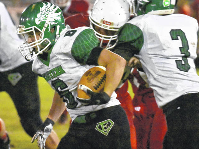EHS sophomore Blake Newland (6) carries the ball during the Eagles 42-0 victory over Wahama in a Tri Valley Conference Hocking Division contest on Friday night in Mason, W.Va.