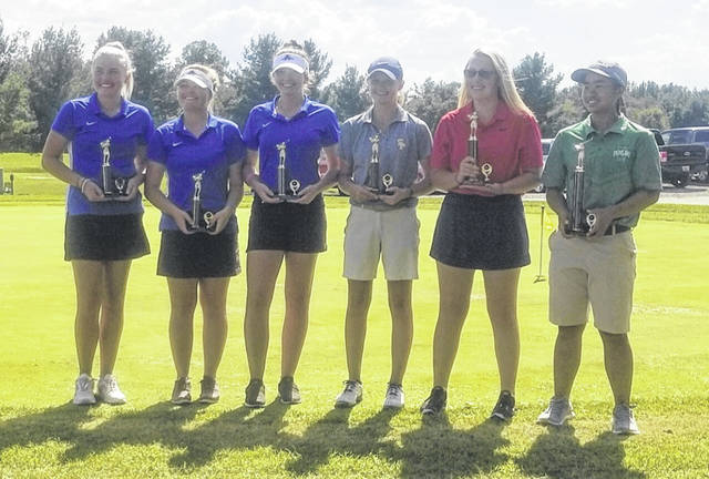 Pictured are the first six female golfers to earn All-Ohio Valley Conference honors in golf. Standing, from left, are Molly Fitzwater, Bailey Meadows and Hunter Copley from Gallia Academy, Emilee Carey of South Point, Katy Pertuset of Portsmouth, and Hanna Shrout of Fairland.