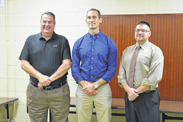 From left to right are Gallia Local Schools Superintendent Jude Meyers, River Valley High School teacher and Yale Educator 2018 awardee Aaron Walker and River Valley High School Principal T.R. Edwards.