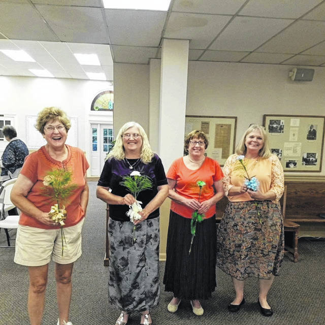 Officers for the Gallipolis Garden Club were installed at their September meeting. Shown left to right are Cathy Byrnes, treasurer;, Marti Yeoman, secretary; Phyllis Mason, vice-president and Carolyn Berry, president. Members look forward to a year of programs on the topics of Plant Today for Growth Tomorrow.