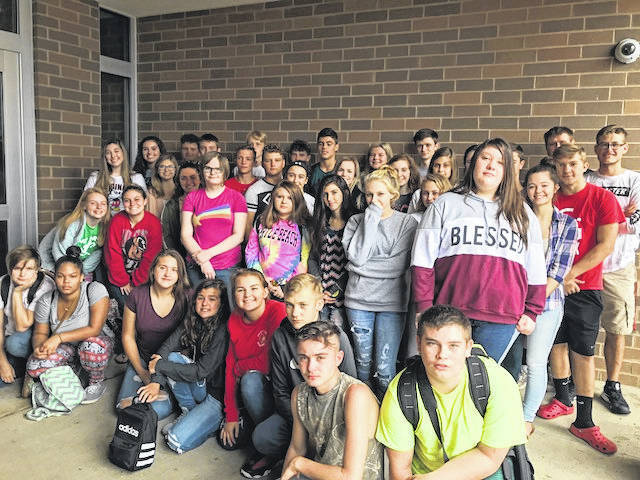 """South Gallia celebrated See You at the Pole today with prayer led by Senior Chad Bostic. Juniors Savannah St. Clair and Olivia Johnson sang """"He Knows My Name."""" The event was attended by several students."""