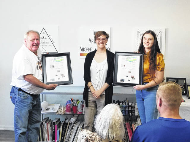 From left: Stephen Thomas, GCCVB Assistant Director Kaitlynn Halley and Kelsie Kerr, co-manager of the Artisan Shoppe and Studio.