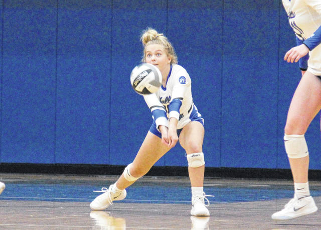 Gallia Academy freshman MaKenna Caldwell passes the ball from the back row, during the Blue Angels' Sept. 4 victory over Ironton in Centenary, Ohio.