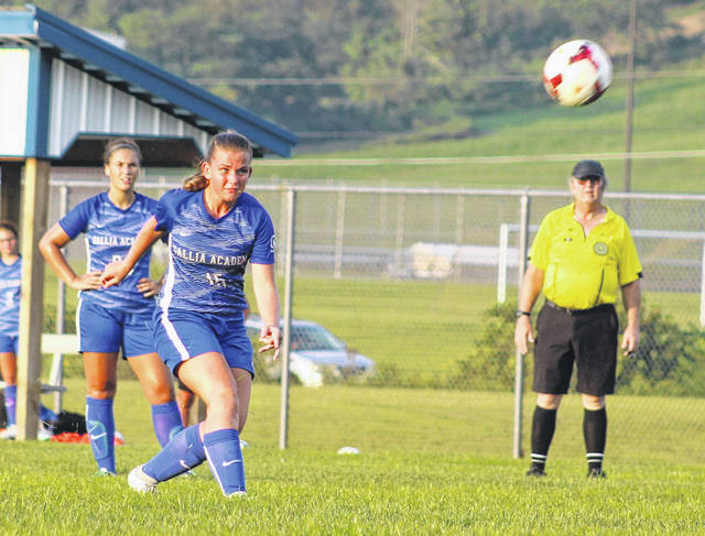 Gallia Academy sophomore Koren Truance (15) boots a free kick during an Aug. 30 match against Fairland at Lester Field in Centenary, Ohio.