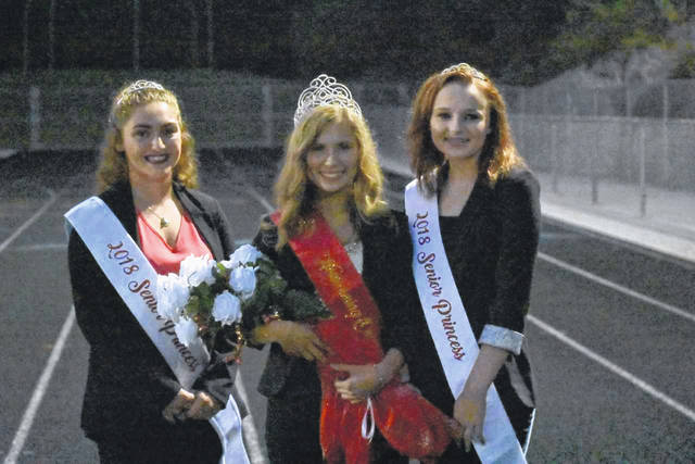 Crowned as the 2018 South Gallia High School Homecoming Queen is Nickole Beaver, pictured at center, alongside members of her court, Senior Princesses Jessica Luther and Bailey Walter. Also pictured, Beaver being crowned by 2017 South Gallia Homecoming Queen Alexandria Sweeney.