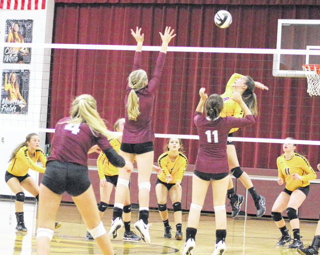Meigs senior Marissa Noble (8) leaps for a spike attempt during Tuesday night's TVC Ohio volleyball contest against Vinton County at Larry R. Morrison Gymnasium in Rocksprings, Ohio.