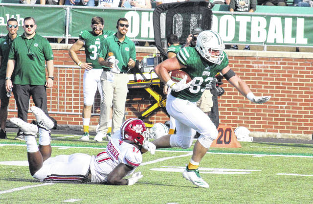 Ohio tight end Conner Brown (83) breaks away from a UMass defender, during the Bobcats' win on Sept. 29 in Athens, Ohio.