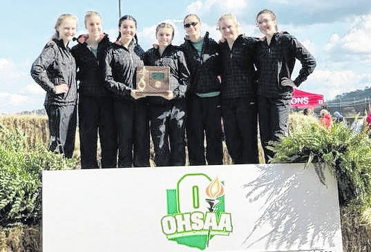 Members of the 2018 Eastern girls cross country team are shown with the district runner-up trophy at the 2018 Division II Southeast District Cross Country meet held Saturday on the campus of the University of Rio Grande in Gallia County. (Courtesy photo)