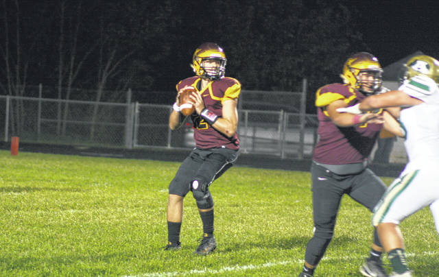 Meigs freshman Coulter Cleland drops back to pass, during the Marauders' loss to Athens on Friday in Rocksprings, Ohio.