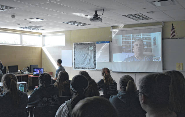 "River Valley High School students gather in the RVHS computer lab Friday afternoon to voicechat with ""Dreamland: The True Tale of America's Opiate Epidemic"" author and journalist Sam Quinones."