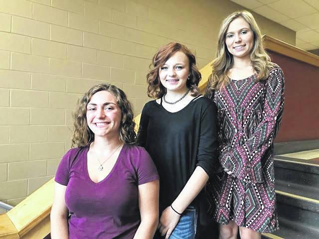 These are the young ladies vying for the title of South Gallia Homecoming Queen Friday night, October 5. From left, Jessica Luther, Bailey Walter, and Nickole Beaver.