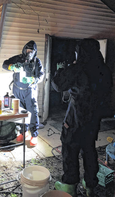 Law enforcement investigates a reported meth lab discovery.