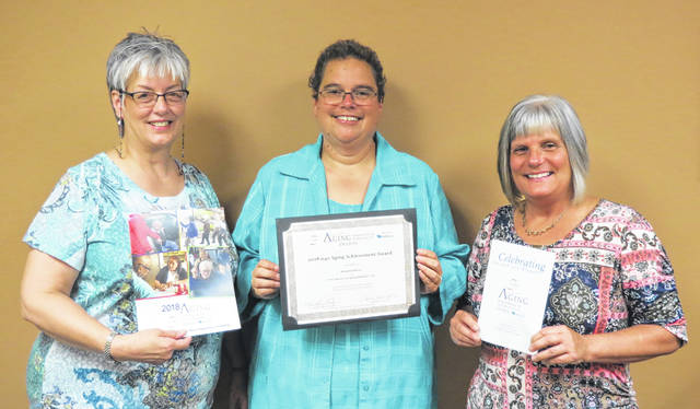 The Area Agency on Aging District 7 in Ohio was recently recognized at the national level by the National Association of Area Agencies on Aging (n4a) with an Achievement Award for successes with the AAA7's Hospital2Home program. Pictured are AAA7 representatives Nina Keller, Assistant Director; Donna Hurt, Options Coordinator; and Vicky Abdella, Director of Community Programs.