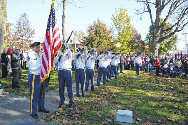 VFW 4464's Honor Guard fires a salute at a previous Veterans Day ceremony in Gallipolis City Park.