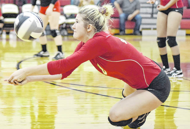 SGHS senior Rachal Colburn (6) attempts a dig during the Lady Rebels victory over the Lady Lancers on Sep. 17 in Gallia County.