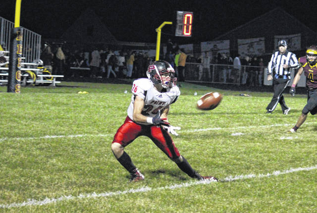 Point Pleasant's Brady Adkins (26) receives a pass inside the five-yard line, during the Big Blacks' Week 8 victory in Rocksprings, Ohio.
