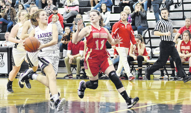 RVHS freshman Lauren Twyman (20) drives the lane during the Lady Raiders 52-45 victory over South Gallia on Friday night in Bidwell, Ohio.