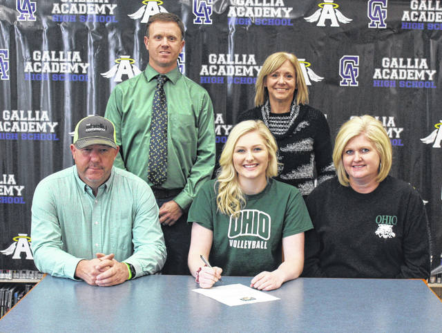 On Wednesday at GAHS, senior Ashton Webb signed her National Letter of Intent to join the Ohio University volleyball team. Sitting in the front row, from left, are Shannon Webb, Ashton Webb and Margi Webb. Standing in the back row are GAHS athletic director Adam Clark and Blue Angels head coach Janice Rosier.