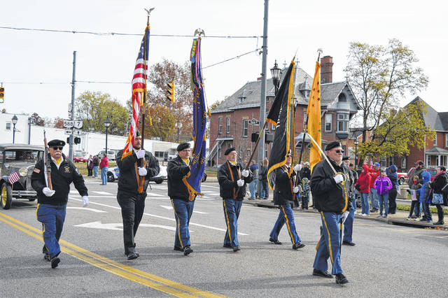 Gallipolis 4464 VFW Honor Guard leads a previous Gallia Veterans Day Parade.