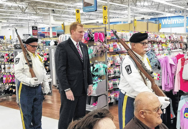 Pictured is Ohio Speaker of the House Ryan Smith who served as Saturday's keynote speaker during a Tribute to Veterans at Walmart in Gallipolis. Also pictured, VFW 4464 Honor Guard presents a firing salute at the end of the Gallia Veterans Day ceremony. More photos from this weekend's ceremonies honoring local veterans found inside and online at www.mydailytribune.com.